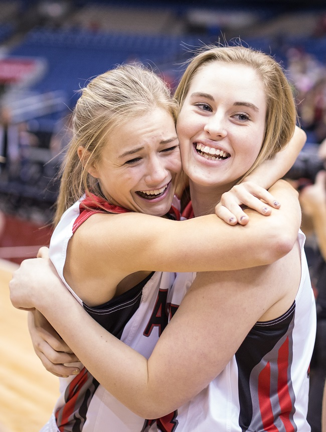 Argyle's Mira Lillard and Hannah Adkins celebrate their state championship win. (Photo by Chris Piel)