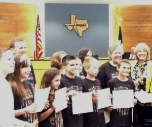 Students from Argyle's Hililtop Elementary School's archery team were honored by Mayor Peggy Kreuger.