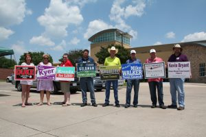 Flower Mound and LISD candidates campaign at the Flower Mound Police and Courts building.
