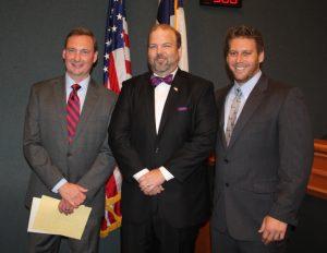 New Flower Mound councilmen Brian Rountree, Kevin Bryant and Itamar Gelbman.