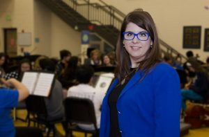 Michelle Hanlon, who plays the violin with the Dallas Bach Society and the Fain String Quartet, also leads the Guyer High School's orchestra hall. (Photo by Bill Castleman)