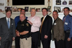 Among those attending the CACDC event are (left to right) Tan Parker, Dan Leal, Denton County Constable Tim Burch, Bob Weir, Flower Mound Mayor Tom Hayden, FM Police Chief Andy Kancel and FM Detective Joe Adcock. (Photo by Netsky Rodriguez).