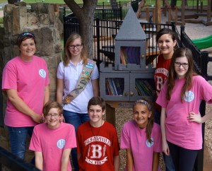 L to R: Amanda McKnight, English Language Arts teacher at Briarhill Middle School and advisor for National Junior Honor Society (NJHS); Cassandra Campbell, GS Ambassador with Troop 79 and a senior at Marcus High School; NJHS members, Tehya Leigh, Clayton Hackler, Lilly Ryan, Kristen Stubenazy and Chloe White (Photo: Stacey Campbell)