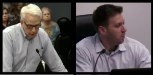 David Johnson and Itamar Gelbman at the June 1 Flower Mound Town Council meeting.