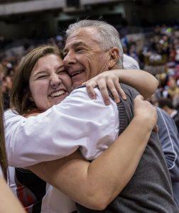 Argyle High School Girls Basketball Coach Skip Townsend with senior Madison Stapleton at the 2015 state basketball playoffs (Photo by Annabel Thorpe).