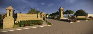 Pictured above is a rendering of the Highland Court entrance from FM 2499.
