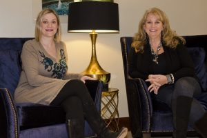 Jamie White, president of the Women of Flower Mound, and Kelly Smith are active in the organization's mission to provide scholarships for graduating seniors. (Photo by Bill Castleman)
